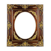 Gold ornate frame isolated on a white background