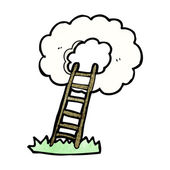 Vector stairway to heaven cartoon on a white background