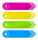 Set of numbered websites buttons in four different colors