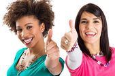 Two Friends Showing Thumb Up Sign