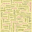 Постер, плакат: Background with music genres letters vector