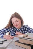 Studentka portrét s knihami