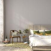 Beige Bett mit grün Dekor