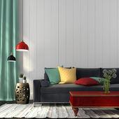 Styl interiéru s tmavě modrou pohovku a červená tabulka