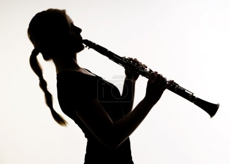 Постер, плакат: Female Musician in Silhouette Practices Woodwind Technique on Cl, холст на подрамнике