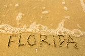 Florida - psaný v písku na pláži textury - měkká vlna moře