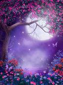 Paesaggio viola con un albero in fiore e arbusti colorati