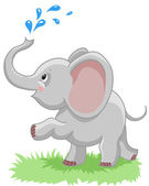 Cheerful baby elephant with a spray of water on a white background