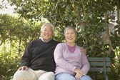 Senior Asian couple sitting on a park bench hugging