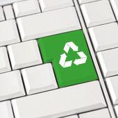 Zöld Lomtár ikon-ra egy számítógép billentyűzetet