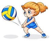 Kavkazská dívka hraje volejbal