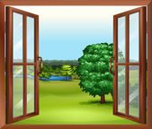 Illustration of an open wooden window