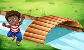 Illustration of a happy Black kid near the wooden bridge