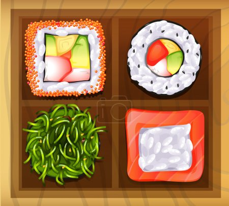 Постер, плакат: Japanese rice meals, холст на подрамнике