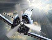 Dramatické scény na obloze. ročník stíhací letadlo příchozí od slunce