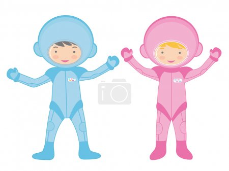 Постер, плакат: Two little astronauts, холст на подрамнике