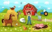 Illustration of a farm life