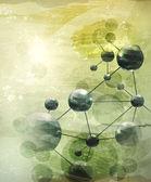 Pozadí s molekulami zelená, starobylé vektor