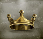 Gold crown old style vector icon