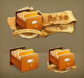 Open card catalog wooden vector icon