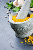 Mortar and pestle with curry powder