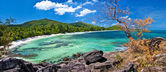 Seychelles islands, panoramic view of praslin' beach