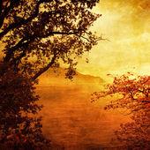 úžasný západ slunce - umělecké tónovaný obrázek