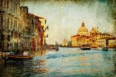 Grand kanál - Benátky - kresba malba stylu