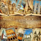 Vintage kollázs lapok helyet szöveg - európai utazási