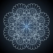 Ornamental round lace pattern Circle lace doily against dark background