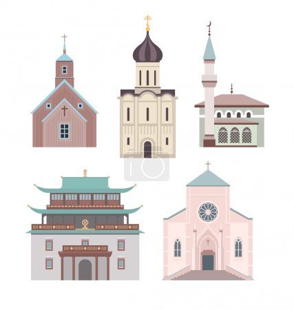 Постер, плакат: Church flat illustration collection, холст на подрамнике