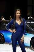 Hostess with Hyundai i20 WRC on display at the 11th edition of International Autosalon Brno