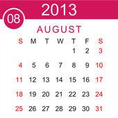 Srpen 2013 kalendář vektor