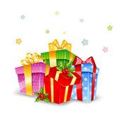 Készlet-ból színes ajándékos dobozok, íjak