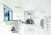 Interiér ručně tažené perspetive koupelna