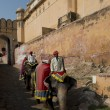 Постер, плакат: Elephants and Mahouts at Amber Fort