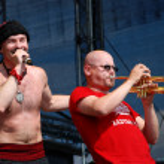Постер, плакат: Ukrainian band Haydamaky perform on stage at the Linz Europa Haf