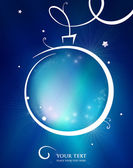 Elegant blue Christmas or New Year background with hand drawn ball stars glittering flashes and place for your text