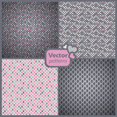A set of 4 perfect seamless pink and grey retro patterns Vector