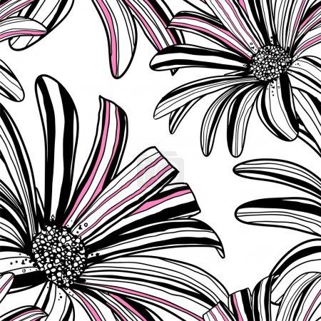 非洲菊鲜花的无缝模式。矢量背景