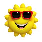 3D kreslený roztomilý slunce