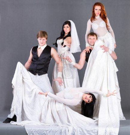 Постер, плакат: Actors in the wedding dress dancing , холст на подрамнике