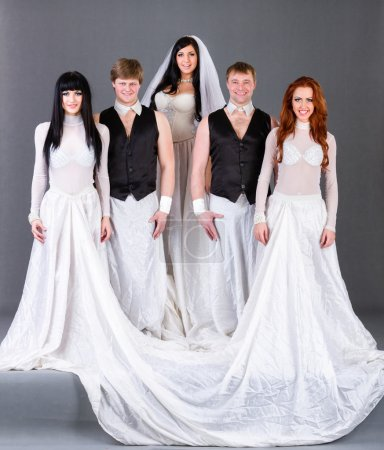Постер, плакат: Actors in the wedding dress posing , холст на подрамнике