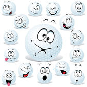 Vector golf ball cartoon isolated on white with many facial expressions