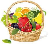 Fruit basket on white background