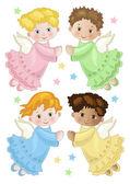 Four little angels in flight