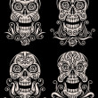 Постер, плакат: Day of The Dead Skull Tattoo Vector Set