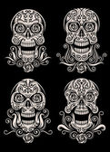 Fully editable vector illustration (editable EPS) of day of the dead skull tattoo in set isolated on black background image suitable for tattoo tribal design elements or t-shirt design