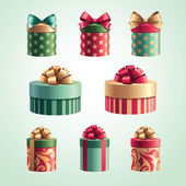 Christmas gift boxes isolated set