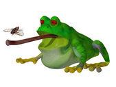 3D kreslený žabák chytit mouchu